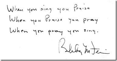 Когда ты поёшь, ты прославляешь [Господа] / Когда ты прославляешь — ты молишься / Когда ты молишься — ты поёшь (McFerrin)