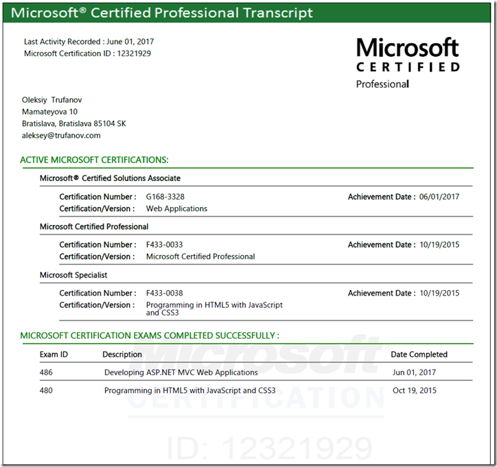 Microsoft Certified Professional Transcript - Oleksiy Trufanov
